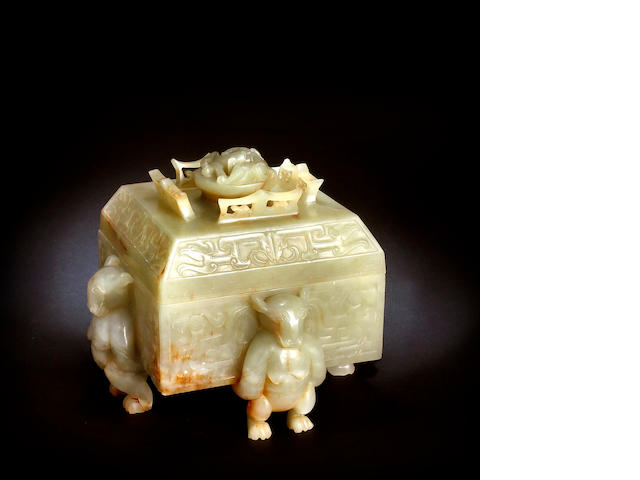 A carved celadon jade box Late Qing or Republic