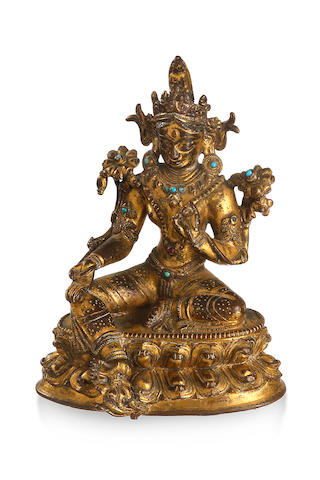 A Sino Tibetan gilded bronze figure of Avalokiteśvara 19th century
