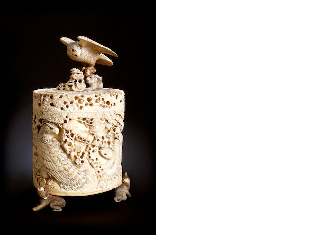 A Japanese carved ivory box and cover  Meiji