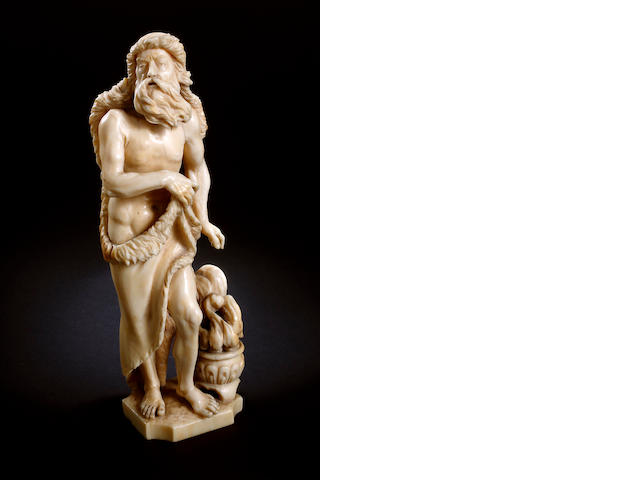 A 19th century carved ivory figure  of Winter