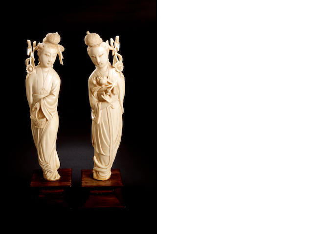 Two Chinese carved ivory statues of female figures Republic