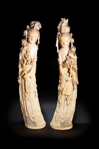 A pair of Chinese ivory carvings of ladies Republic
