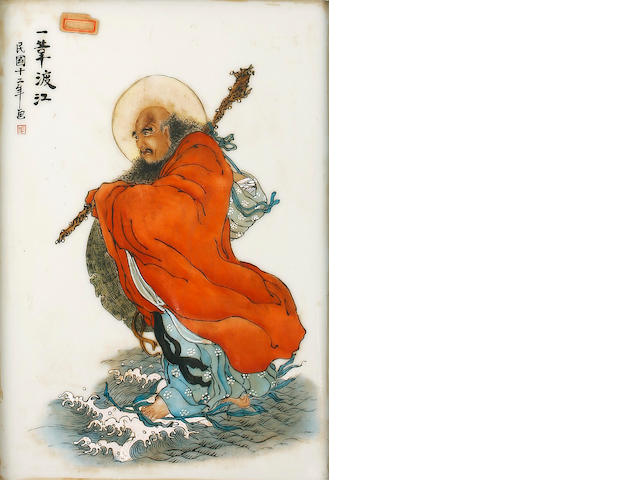 A framed Chinese ceramic plaque of Bodhidharma crossing the Yangtze River Dated by inscription, 1933
