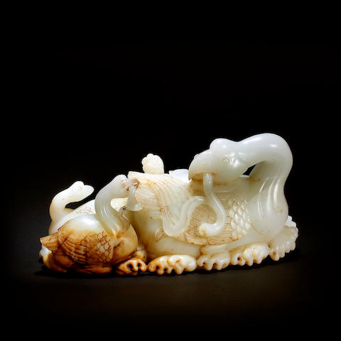 A large white jade carving