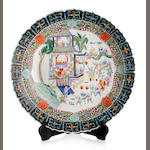 A large Chinese famille rose barbed-rim charger Six-character Tongzhi mark within double ring to the base, late Qing Dynasty or Republic