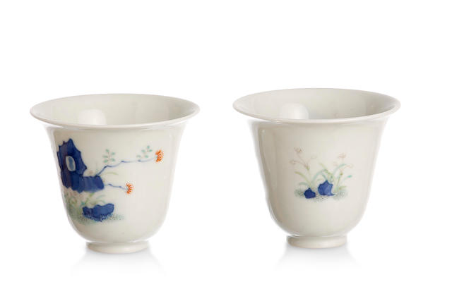 A pair of Chinese enamelled cups Four-character studio mark to the base