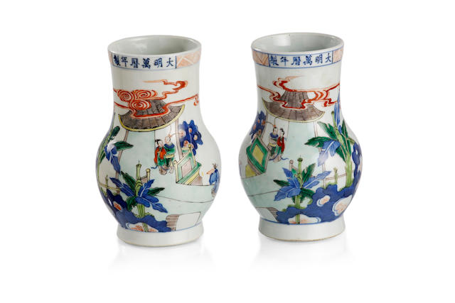 A pair of Chinese doucai vases Six-character Wanli mark
