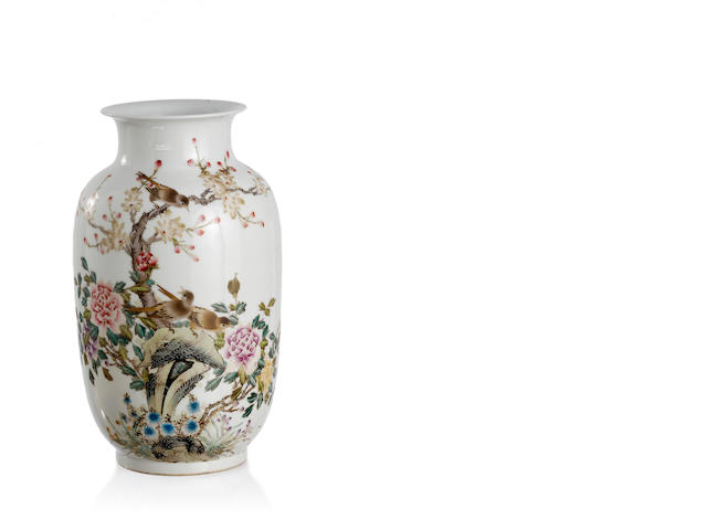 A Chinese enamelled bird-and-flower base Four-character Qianlong mark, Republic