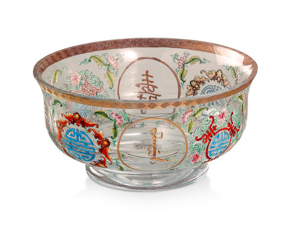 A Chinese enamelled and carved glass bowl Carved four-character Qianlong mark to the base