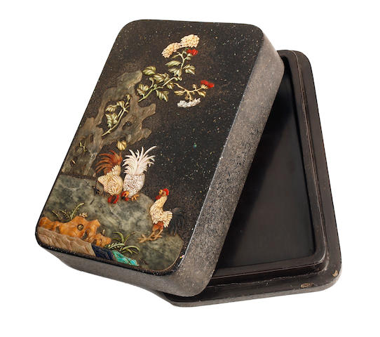A Chinese lacquer ink-stone box with mother-of-pearl, jade, and hardstone inlay Mid to late Qing dynasty