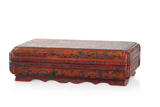 A large Chinese cinnabar rectangular lacquer box