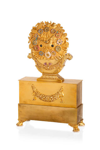An unusual Directoire gilt bronze and painted mantel clock Circa 1835