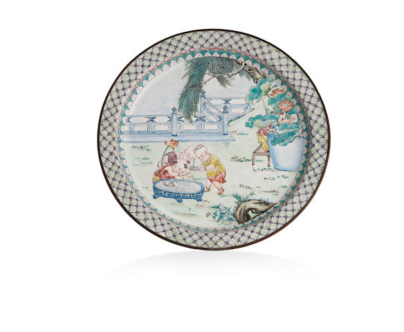 A Canton-enamel 'children' plate Late Qing Dynasty or Republic