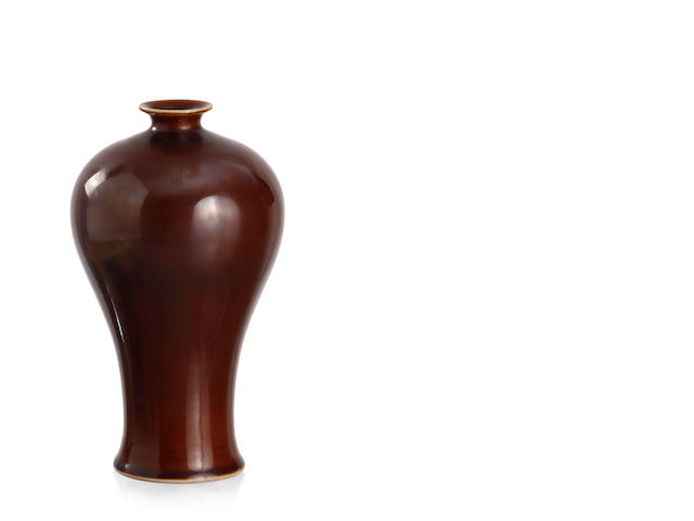 A brown glaze vase, meiping  Six-character Daoguang mark to the base, Republic