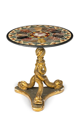 An Italian  giltwood and specimen marble topped centre tableCirca 1830