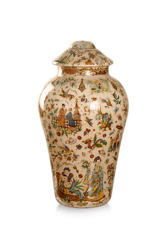 A late Victorian reverse painted vase and cover Circa 1880
