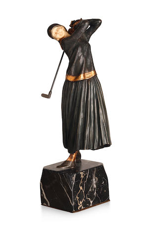 Demetre Chiparus (1888-1850) 'The Golfer', a cold painted bronze and ivory figure, circa 1928