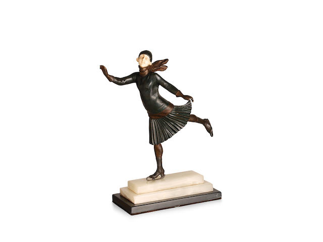 Demetre Chiparus (1888-1850) 'The Skater', a cold-painted bronze and ivory figure, circa 1925