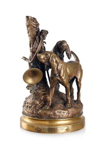 Prosper Lecourtier (French 1851-1924)A bronze hunting scene, circa 1890