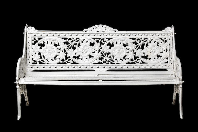 A Late Victorian Coalbrookdale 'Horse Chestnut' Pattern  white painted cast iron garden bench