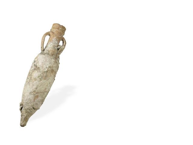 An Ancient Roman terracotta shipwreck amphora vase, 3rd century B.C.