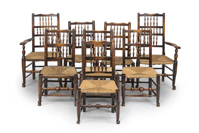 A matched set of eight 19th century  ash and elm ladder back chairs including two armchairs