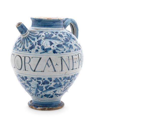 A Venetian maiolica A AD SCORZA NERA syrup jar, circa 1600