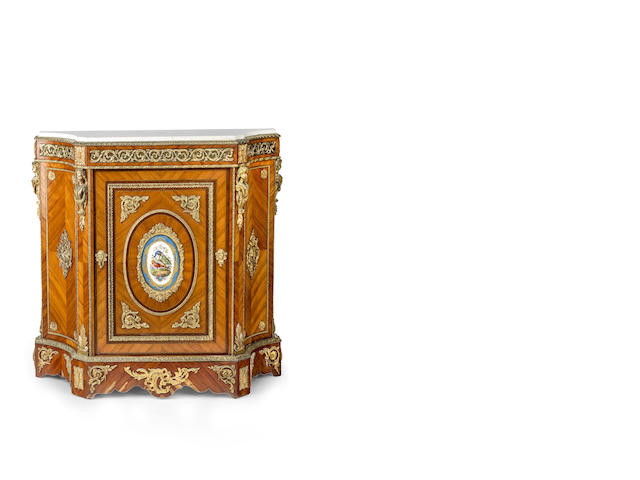 A fine Transitional style satinwood, gilt bronze mounted and marble topped side cabinet French, circa 1870