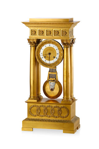 A large French Charles X gilt bronze mantel clock Circa 1830