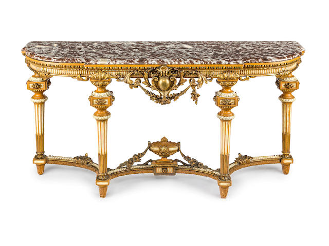 A Louis XVI style painted, parcel gilt and marble topped console table French 19th century