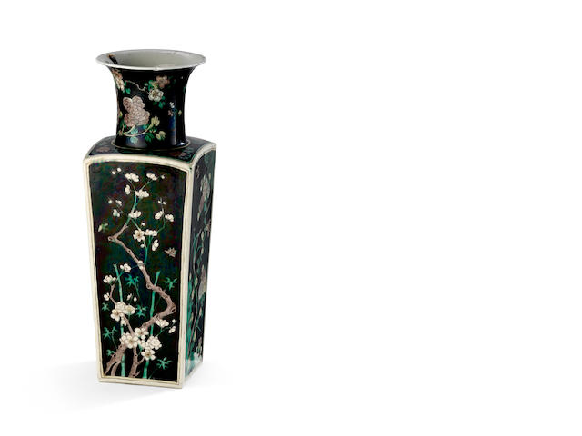 A famille noir Transitional style vase of square tapering form Six character Kangxi mark to the base, 19th century