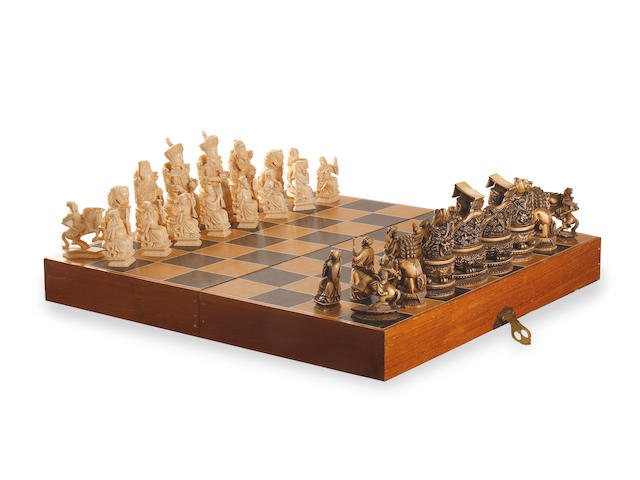 A Chinese boxed ivory chess set in carved ivory 19th century or Republic