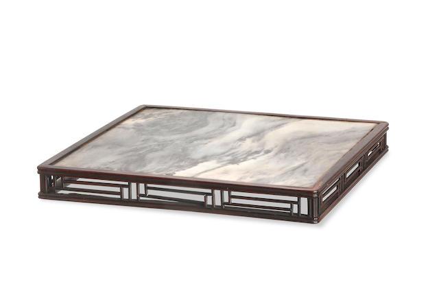 A Chinese rectangular marble scholar's plate Kangxi