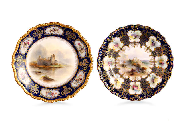 Two Royal Worcester specimen plates  1914 and 1907