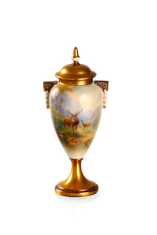 A Royal Worcester twin handled vase and cover by Harry Stinton 1932