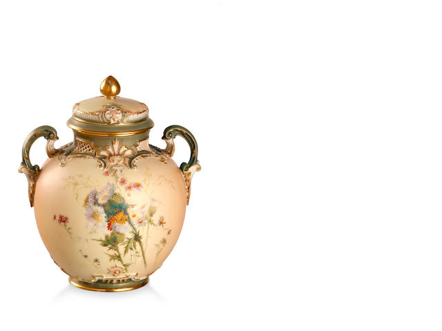 A Royal Worcester blush ivory lidded pot pourri urn and cover  1897