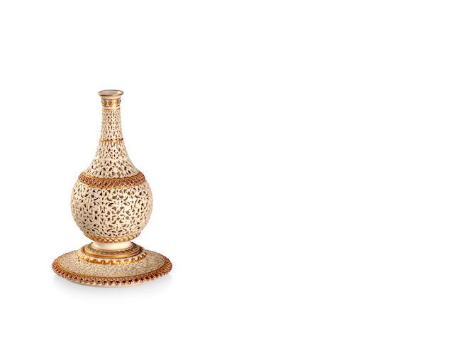 A Grainger's Worcester reticulated pedestal vase 1897