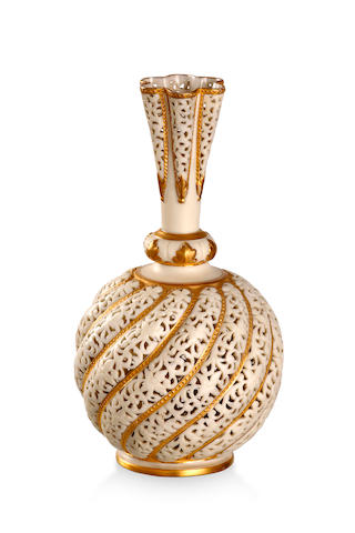 A Grainger's Worcester reticulated vase Circa 1910