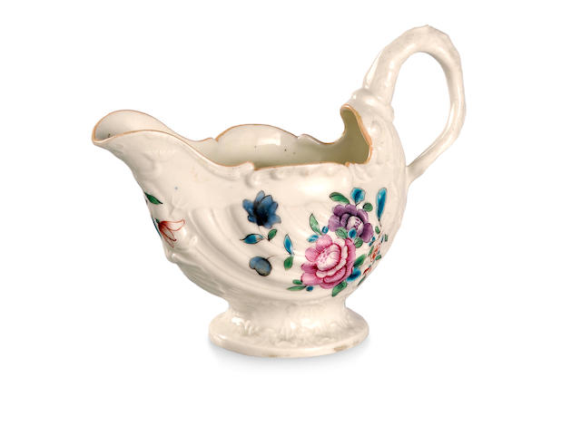 A Worcester leaf-shaped sauce boat  Circa 1775