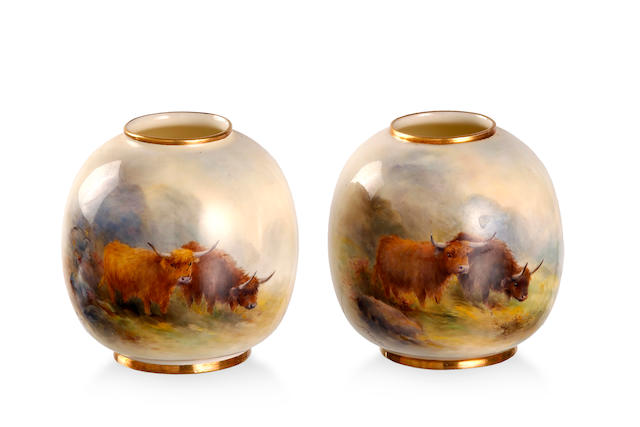 A pair of Royal Worcester posy vases by Harry Stinton 1907