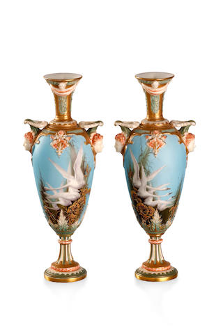 A pair of Royal Worcester pedestal vases 1901