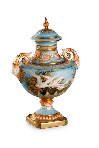 A Royal Worcester pedestal urn and cover by Charles Baldwyn 1903