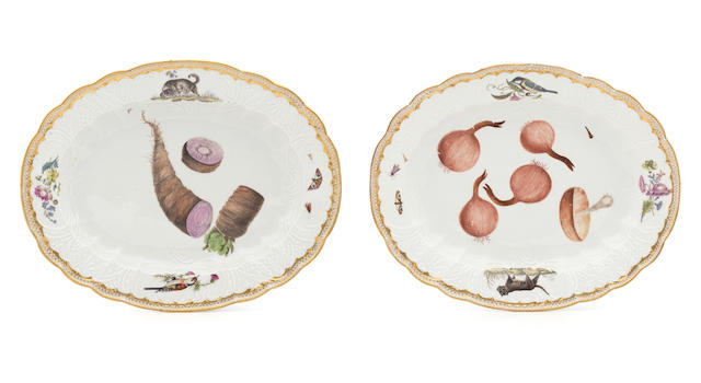 PR Meissen platters (vegetables, birds and cats)