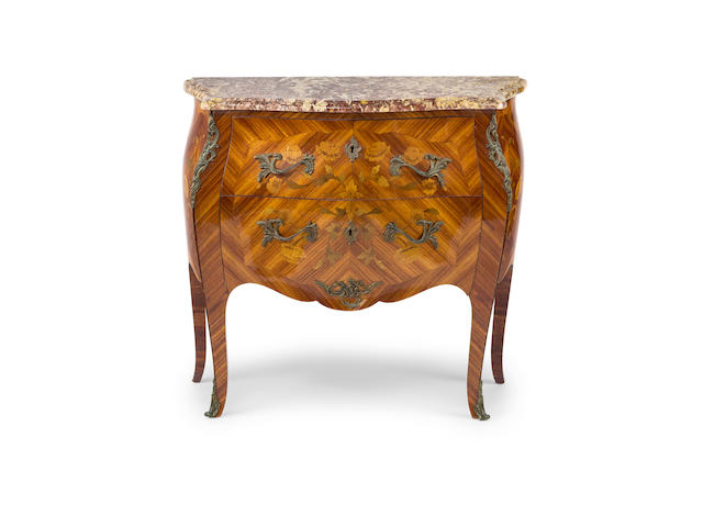 A Louis XV style  walnut and marquetry commodeFrench, 20th century