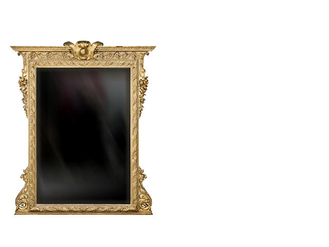 A large  carved giltwood overmantel mirrorFrench late 19th century