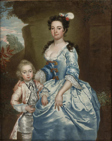A late 18th century  oil on canvas double portrait