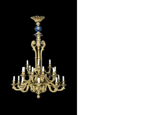A Louis XVI style gilt bronze nineteen light chandelierFrench 19th century