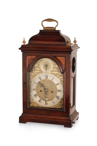 A mid 18th century mahogany repeating bracket clock James Ewmane, London