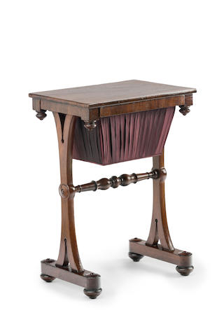 An Australian cedar and rose mahogany work table Circa 1840