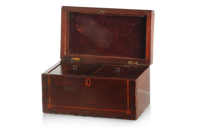 An Australian cedar and pine strung tea caddy Circa 1850